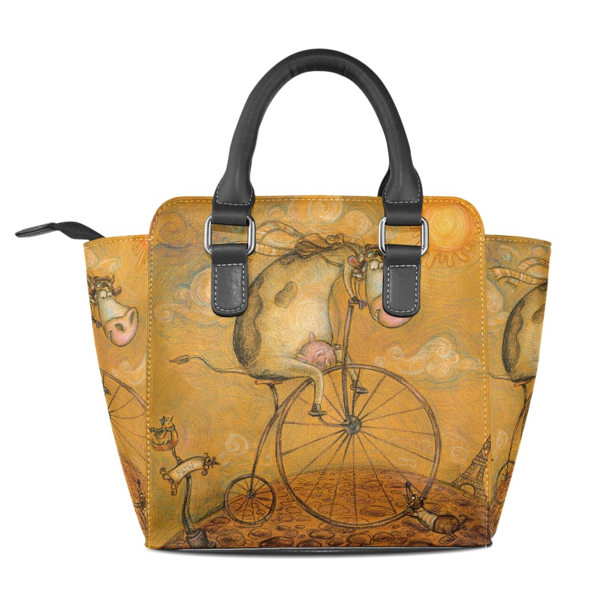 Sunlome Vintage Cute Cow on the Bicycle Womens Leather Tote Shoulder Bags Handbags