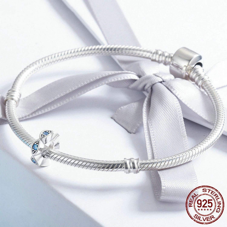 EverReena Lucky Blue Eye Glittering Elegant CZ Stone Spacer Silver Beads Bracelets