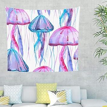 Tapiz de pared con diseño de medusas, para colgar en el océano, para el dormitorio, la playa 100 x 150 cm Blanco: Amazon.es: Hogar