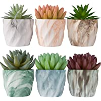 Miracliy 2.75 inch Marble Mini Succulent Pots Ceramic Planters Cactus Bonsai Flower Pots with Drinage(Set of 6)