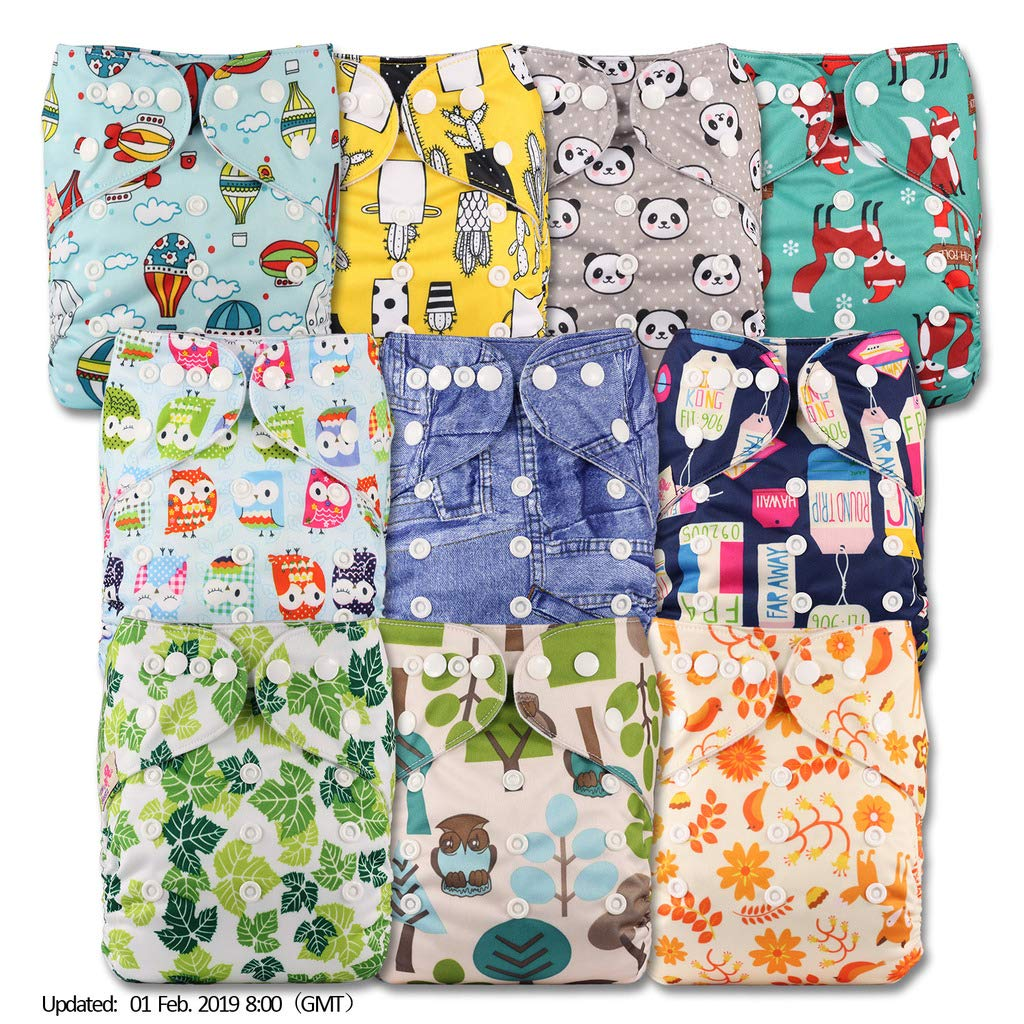 Reusable Pocket Cloth Nappy Set of 10 Patterns 1002 Littles /& Bloomz with 20 Microfibre Inserts Fastener: Popper