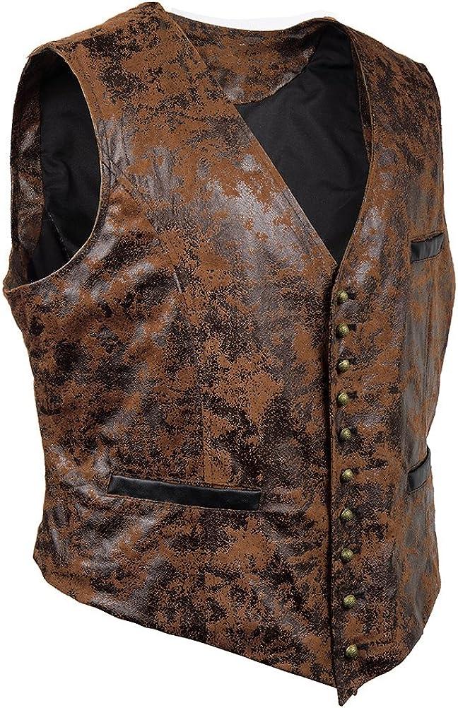 Bslingerie/® Mens Steampunk Faux Leather Waistcoats Vest
