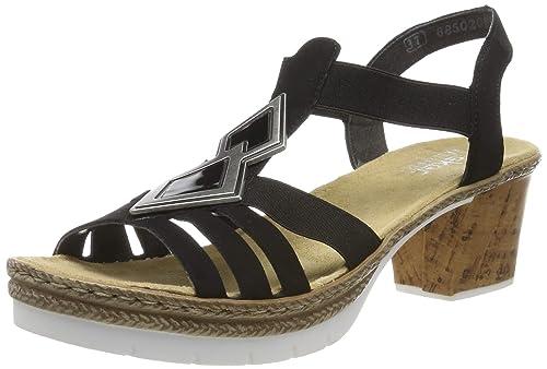 Rieker Plateausandalette Damen Schwarz Schuhe Sandalen