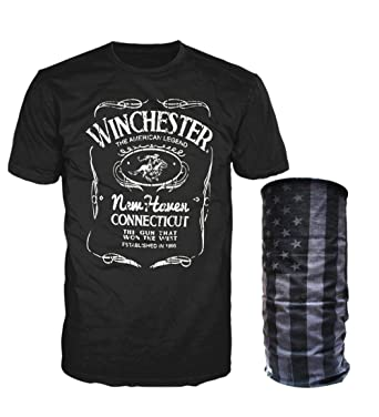 8aa97b02 Amazon.com: Winchester Official Mens Cotton Western Poster Graphic Printed  Short Sleeve T-Shirt with Matching USA Bandana: Clothing