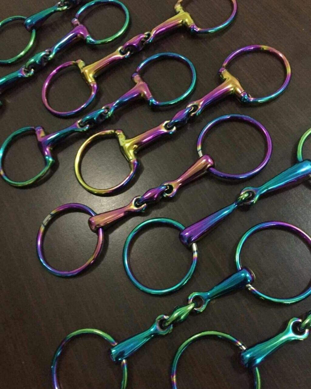 Lift Sports Horse Snaffle Bit Loose Ring Egg Butt Hanging Cheek Rainbow Multi Color with Lozenge Fat Multiple Size Tack Equestrian Shows