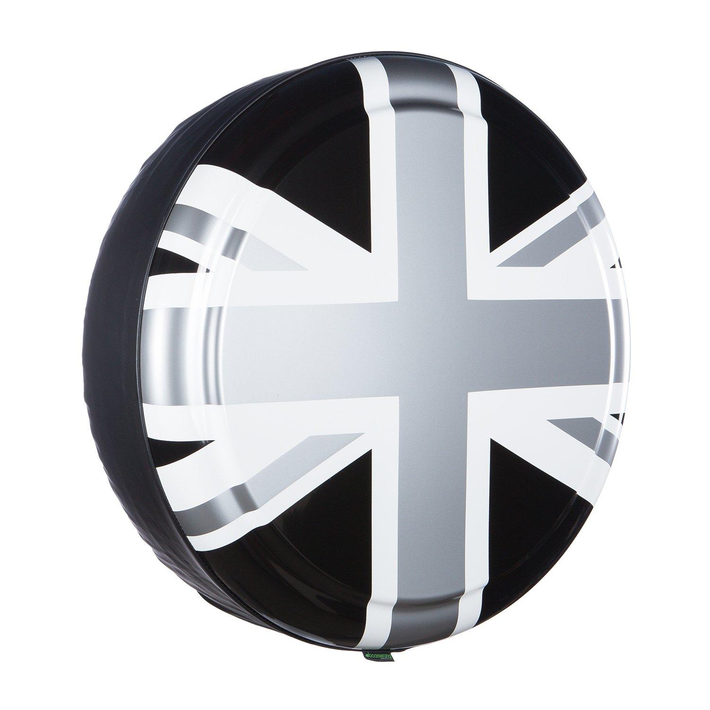 35'' Rigid Tire Cover - (Hard Plastic Face & Vinyl Band) - Pewter Union Jack