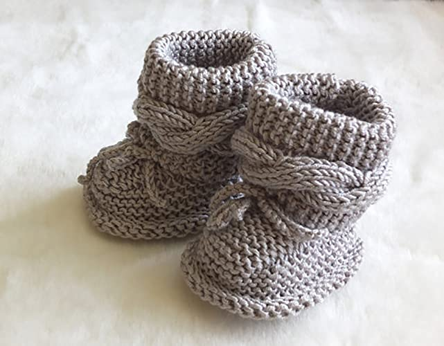 781a0bcb1f672 Amazon.com: Baby boots - Gray booties - Knitted baby booties - Baby ...