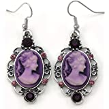 Purple Cameo Dangle Drop Earrings Fashion Jewelry