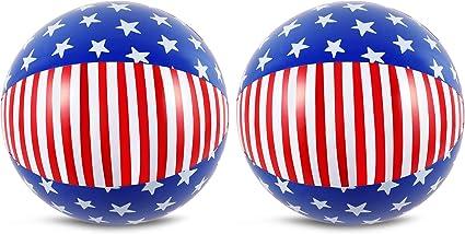 Amazon.com: 2 bolas de playa patrióticas rojas blancas ...