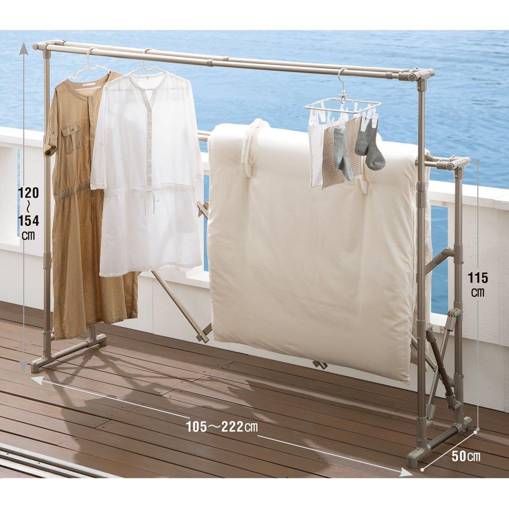 布団もシーツも楽に干せるダブルバー物干し 高さ伸縮式(竿4本)タイプ 652910 B07MH28WDD