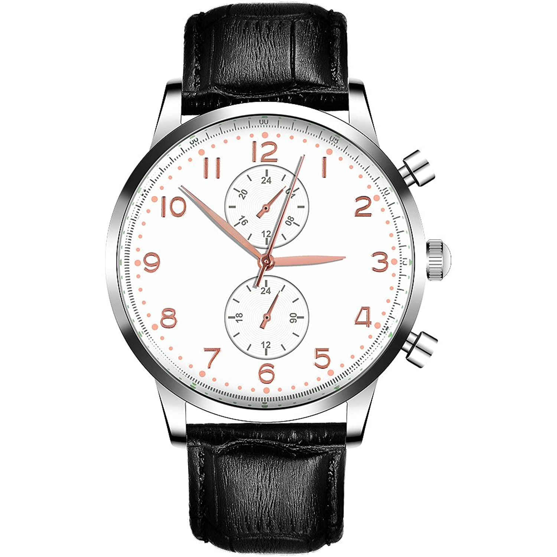 desheng (Politiker) Herren Chronograph Quarz Handgelenk Uhren mit kratzfester Mineral Kristall Glas und weiß Zifferblatt