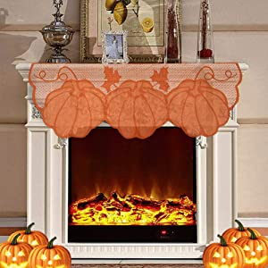 GonLei Thanksgiving Decor Fireplace 20 x 60 Inch, Maple Leaves Scarves Lace Fall Runner for Thanksgiving Door Decorations Autumn Table Cover Party Seasonal Decor