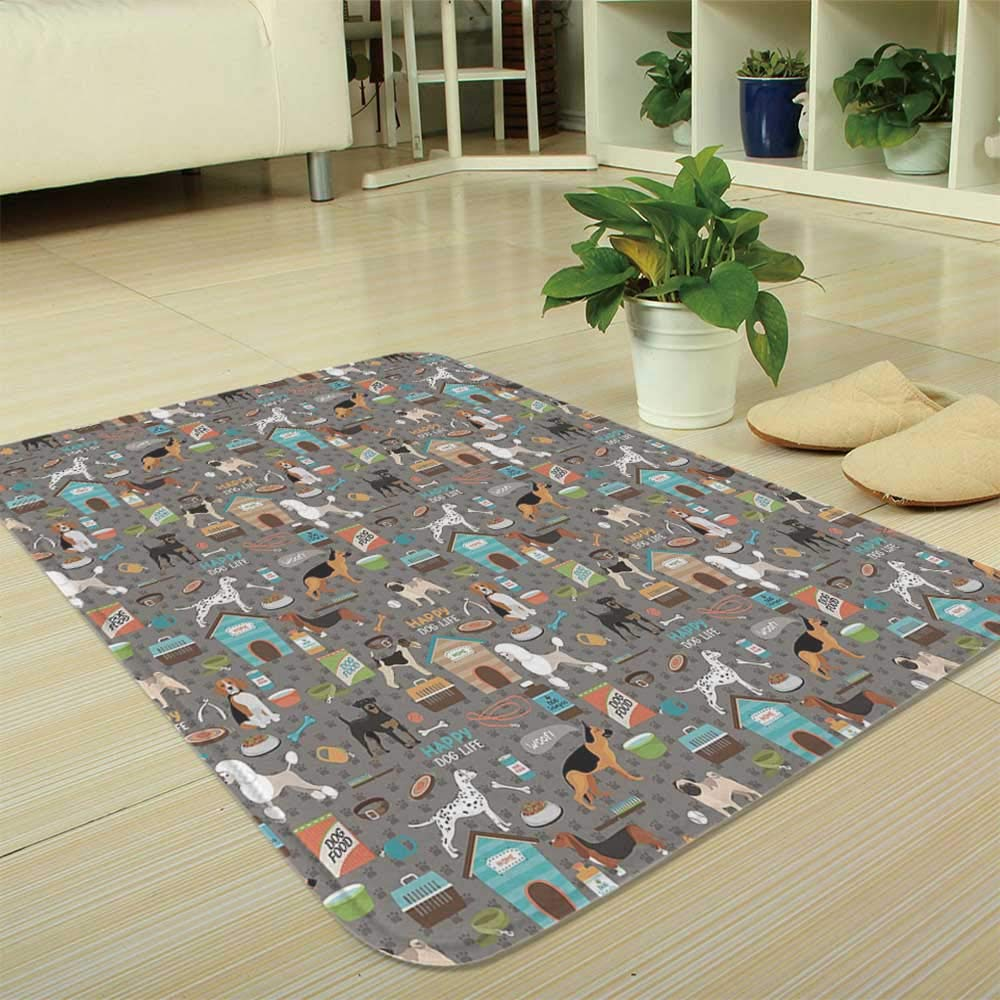 TecBillion Water Absorption Non-Slip Mat,Dog Lover,for Corridor Study Room Bathroom,35.43''x47.24'',Paw Print Background with Pet Canine
