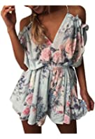 Yidarton Womens Rompers Casual Print Playsuit Summer Holiday Beach Party Jumpsuit Shorts Dress
