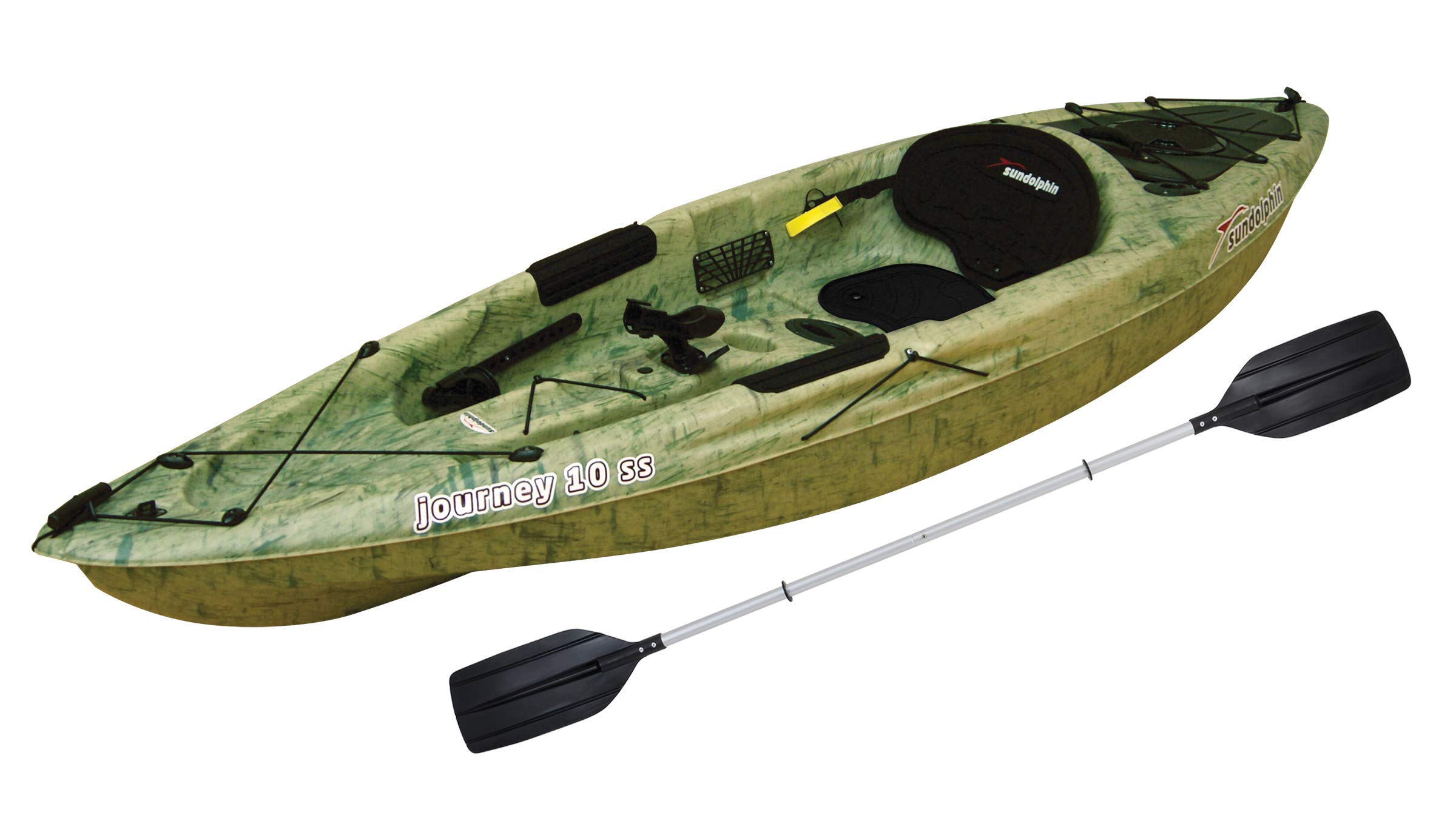 SUN Dolphin Journey 10 SS Sit-On Fishing Holiday Vacation River Lake Angler Kayak, Paddle Included! (Grass)