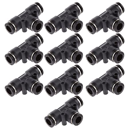 10pcs Tube OD 8mm 5//16 Tee Union Pneumatic Push Connector Air Line Quick Fittings Joint Adapter Couplings Durable