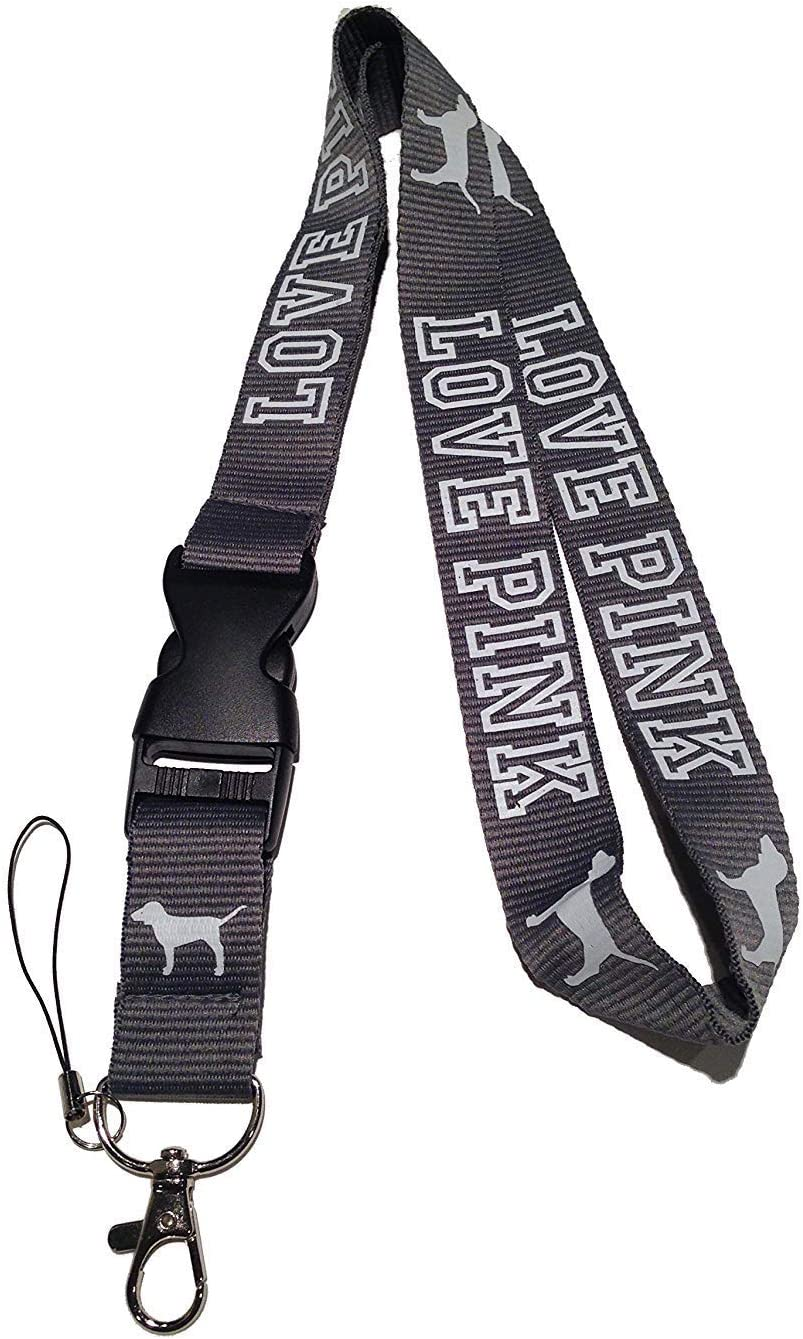 Love Pink Lanyard Neck Strap Keychain ID Holder Keyring for Keys Phones Bags