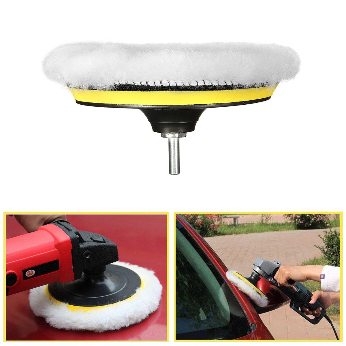 MATCC 7Pcs 6inch Polishing pads,Sponge and Woolen Polishing Waxing Buffing Pads Kits with M14 Drill Adapter, 6inchs by MATCC (Image #6)