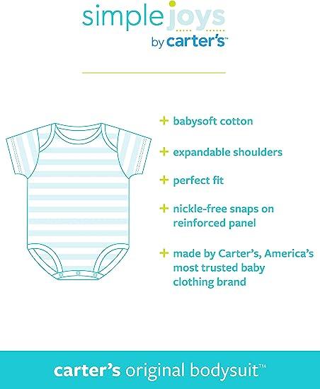Blue//Red//Grey Simple Joys by Carters Baby Boys 5-Pack Long-Sleeve Bodysuit Newborn