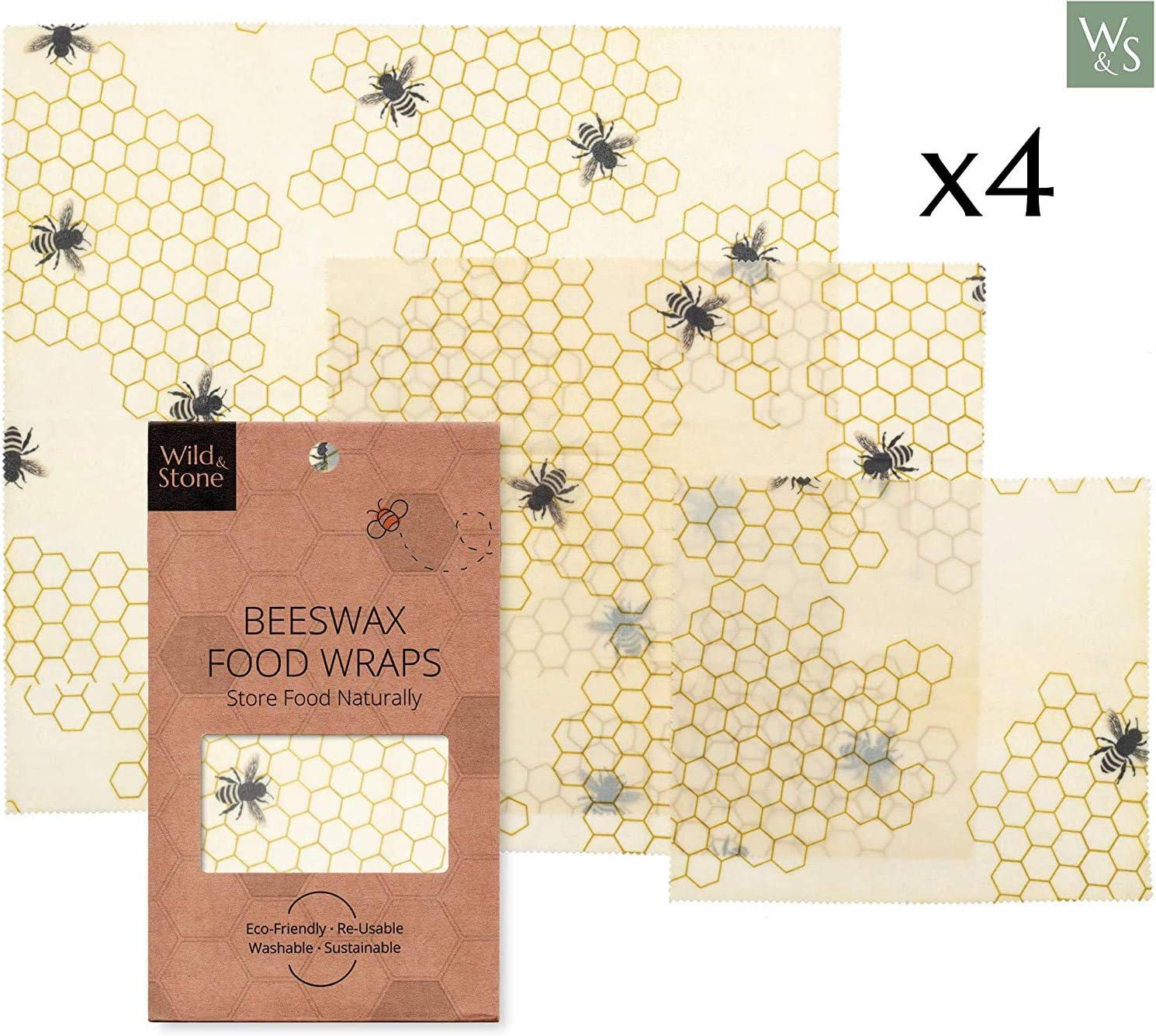 Wild & Stone   Envoltura reutilizable de cera de abeja   alternativa natural a una envoltura de plástico   Sostenible y respetuoso con el medio ambiente   Nido de abeja conjunto de patrones de tre