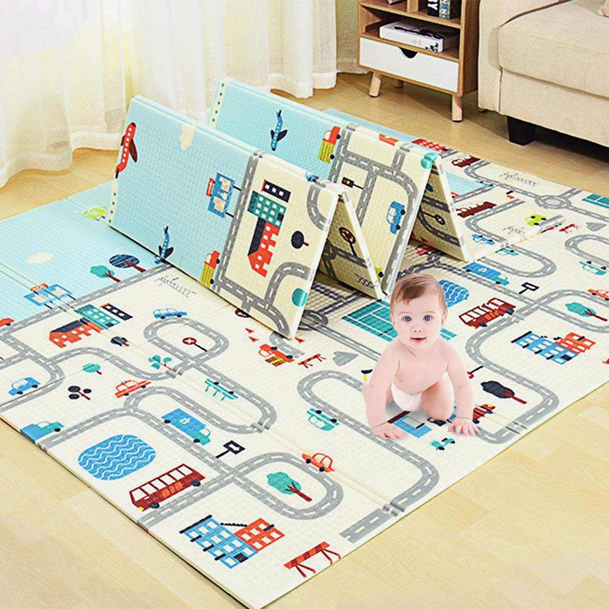 Lovinouse Premium Folding Baby Play Mat, with 5 Cars, 79 x 71 inch Non-Toxic Foldable Playmat, Reversible Crawling Mat Waterproof Thick Foam for Toddlers Kids