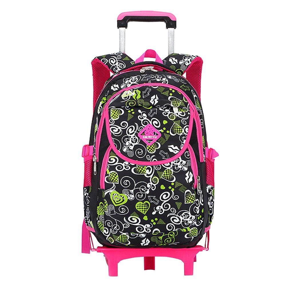 BOZEVON Zaino rossoolante Scuola Borsa - Sei Ruote Trolley borsa Bambini Ragazza e Scolari Con Ruote, Nero-rosa Rosso