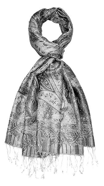 LORENZO CANA Luxus Pashmina Damen Schal Schaltuch jacquard gewebt 100/% Seide 55 x 180 cm Paisley Muster Seidenschal Seidentuch Seidenpashmina harmonische Farben