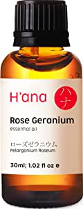 Hana Rose Geranium Essential Oil 100% Pure Natural Aromatherapy Therapeutic Grade for Humidifier, Diffuser, Relaxation, Skin and Hair Care -30 mL (1 oz)