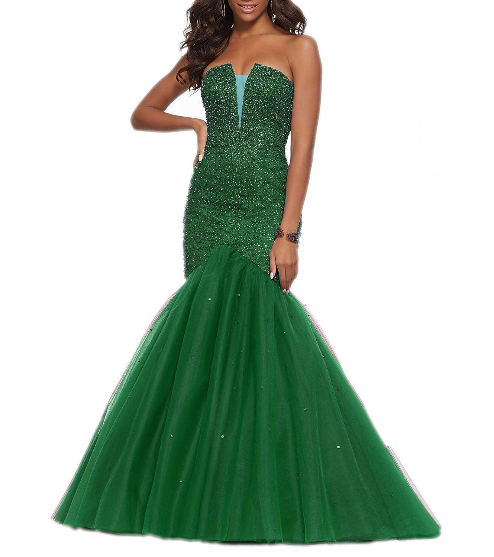 Green 1 Wanshaqin Women's Lace Appliques Wedding Dress Ball Gown Evening Prom Dress Long Beading Sequined Dresses