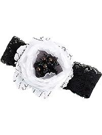 Lillian Rose Black and White Flower Prom Wedding Garter