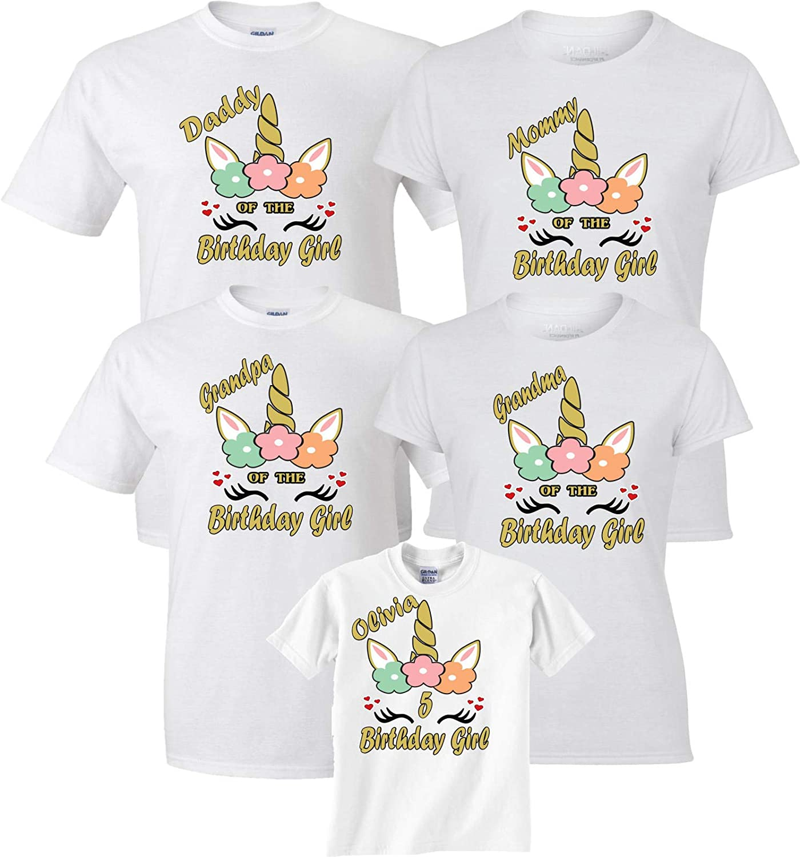 e2284a1c5e18 Birthday Girl Unicorn Pastel Color Mom dad Family Customized Shirts at  Amazon Women's Clothing store: