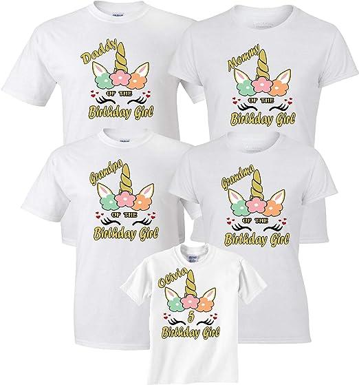 cadd02ae Birthday Girl Unicorn Pastel Color Mom dad Family Customized Shirts Xs  Youth (5-6