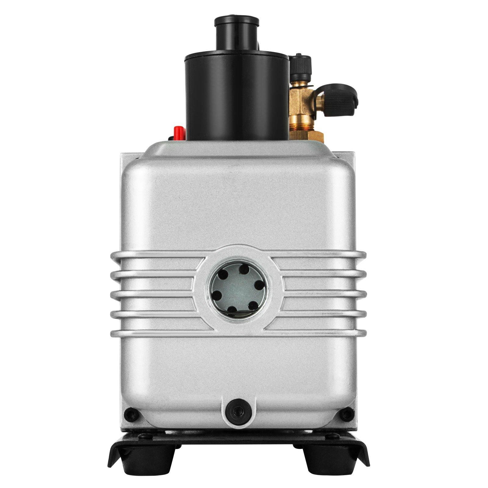 LOVSHARE 12CFM 1HP Vacuum Pump 110V 2 Meter Valve 1 Stage