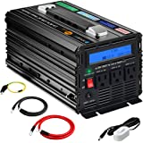novopal Power Inverter Pure Sine Wave Power Inverter 1000 Watt 3 AC Outlets DC 12v to AC 120v with Remote Control, Big LCD Display( Surge 2000W)