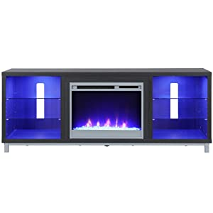 """Ameriwood Home 1822196COM Lumina Fireplace Stand for TVs, up to 70"""", Black Oak"""