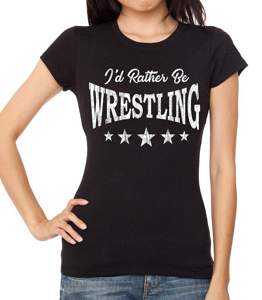 Interstate Apparel Inc Junior's I'd Rather Be Wrestling Black T-Shirt Large Black