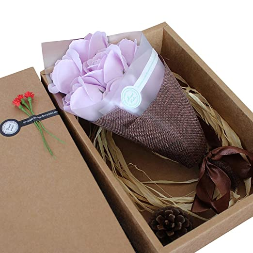 niceeshop (TM) 7 paquetes de jabón, diseño de rosa con caja de regalo Plant aceite esencial Jabón de rosa juego de invitados jabón regalos para San ...