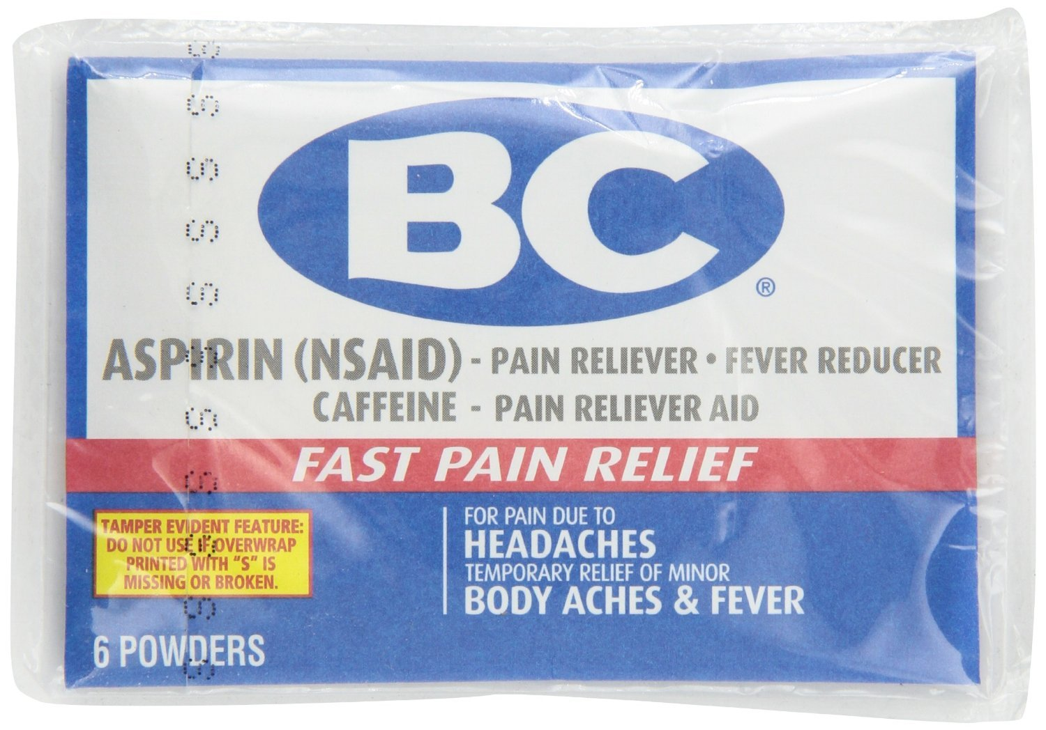 BC Aspirin Powder Headaches Body Aches & Fever 6 Count x 24 Packs by BC