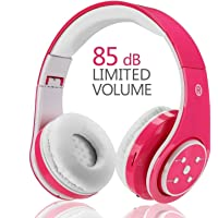 Wireless Bluetooth Kids Headphones, Votones Volume Limiting Lightweight Foldable Adjustable Over Ear Earphone with Microphone Aux in SD Card for Smartphone PC Tablet(Pink)