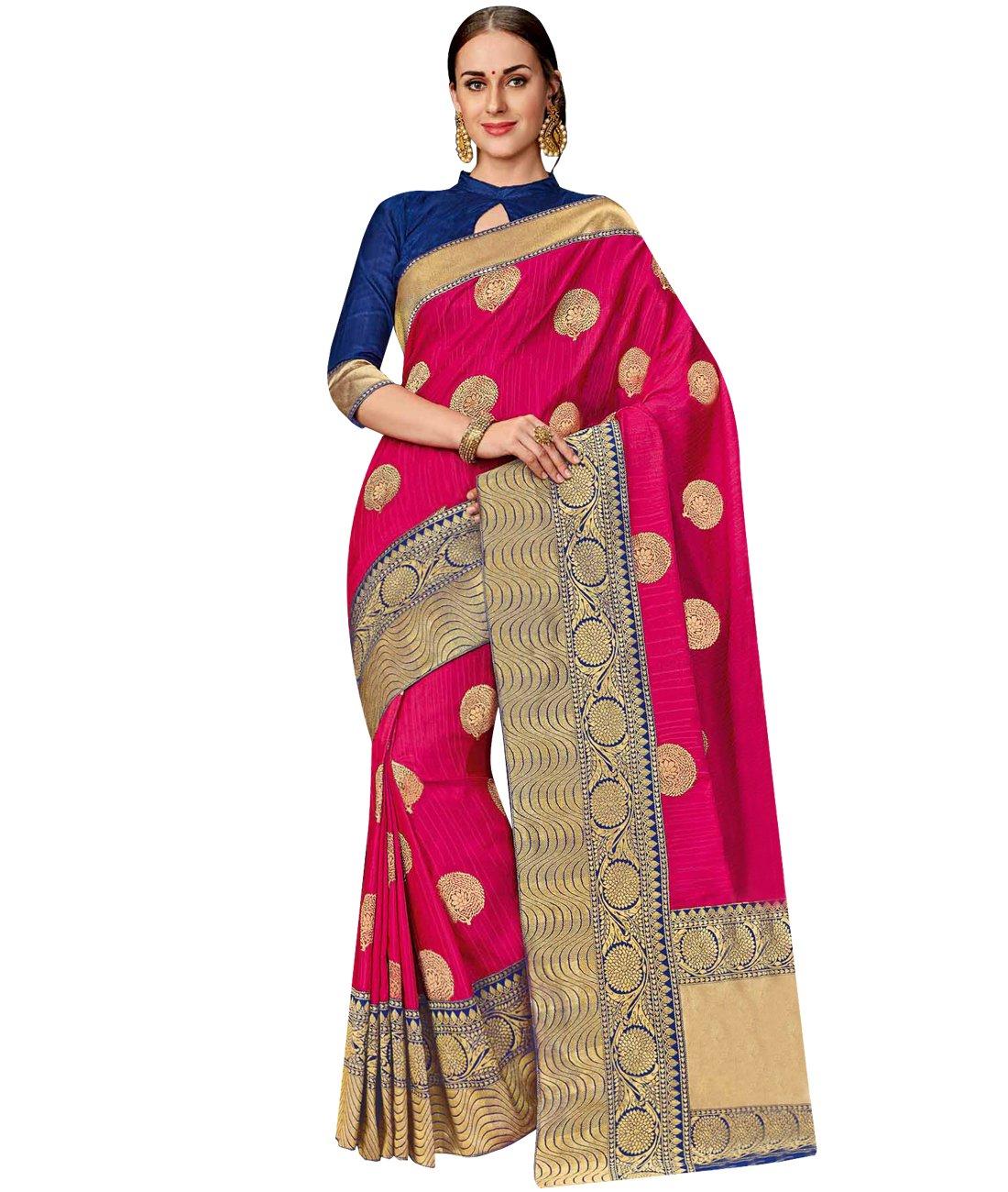 Indian Ethnic Art Silk Pink Banarasi Saree