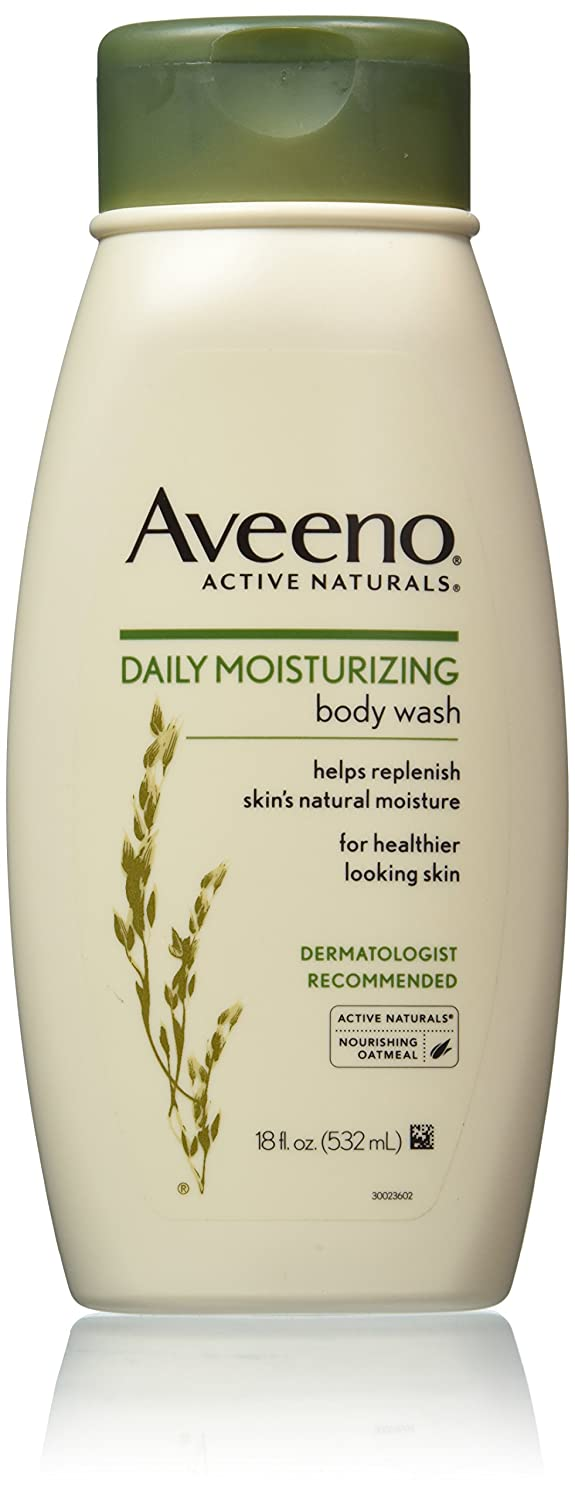 Aveeno Active Naturals Daily Moisturizing Body Wash with Natural Oatmeal, 18 Ounce (Pack of 3)