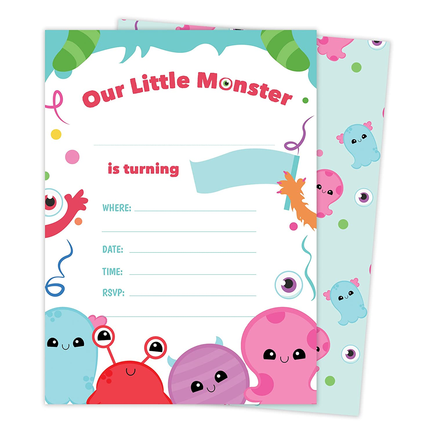Monster Style 1 Happy Birthday Invitations Invite Cards 25 Count With Envelopes Seal Stickers Vinyl Boys Girls Kids Party