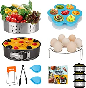 Pressure Cooker Accessories Set, Compatible with Instant Pot 6 Qt, 8 Quart, with Steamer Basket, Springform Pan, Egg Steam Trivet, Silicone Mold, Pot Mitts, Kitchen Tong, Recipe Book