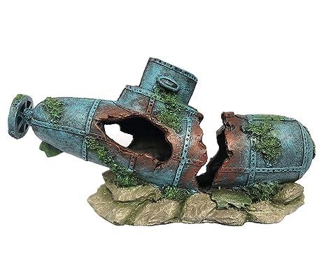 SLOME - Adornos para Acuario (Material de Resina), diseño de Barco hundido