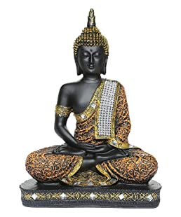 Vinayak Creations Sitting Buddha Idol Statue Showpiece- Orange and Black