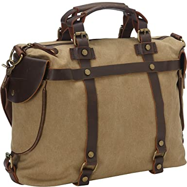 Amazon.com  Laurex Canvas Duffle Bag with Leather Trim 1229 01812828aa4