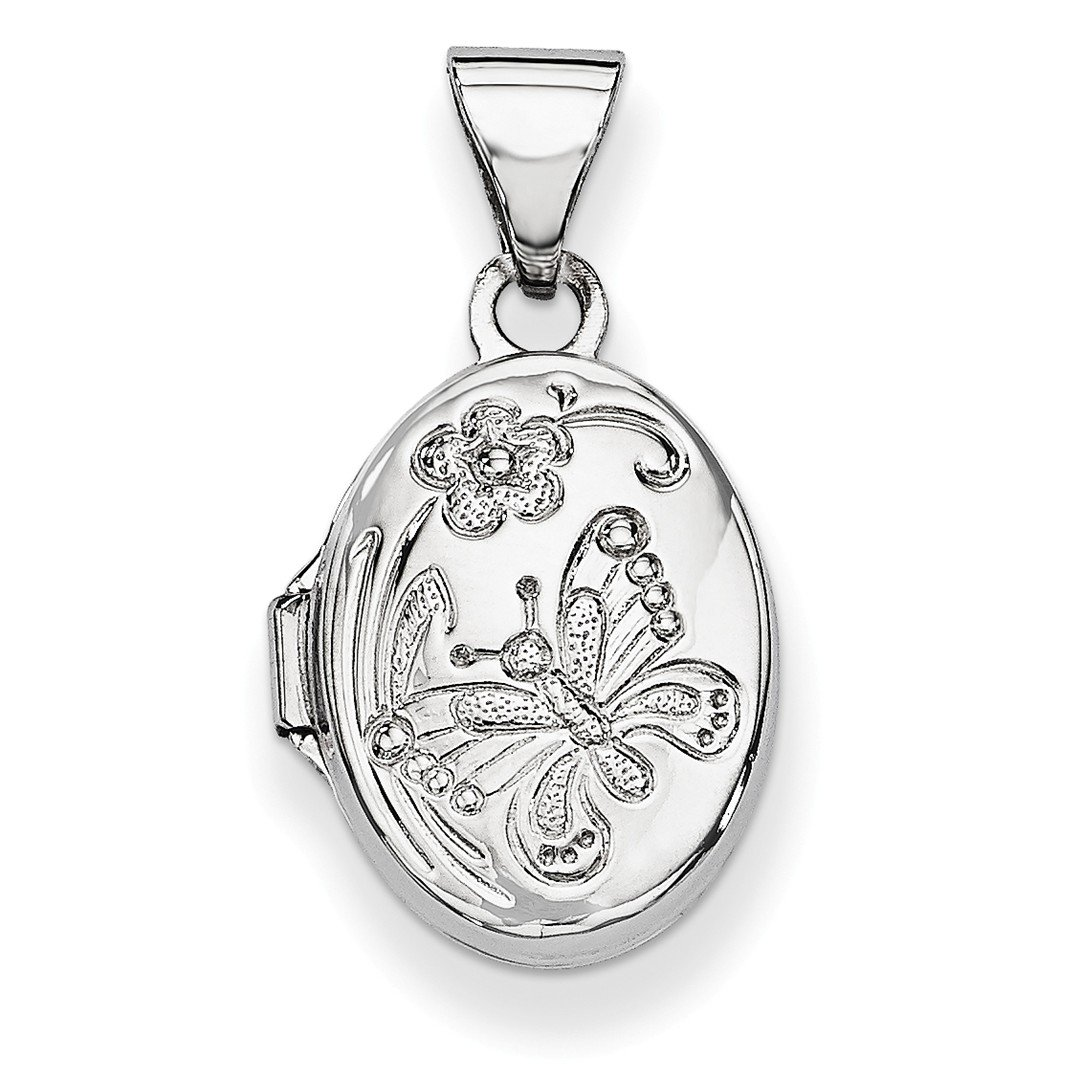 ICE CARATS 14k White Gold Butterfly Oval Photo Pendant Charm Locket Chain Necklace That Holds Pictures Fine Jewelry Gift Set For Women Heart
