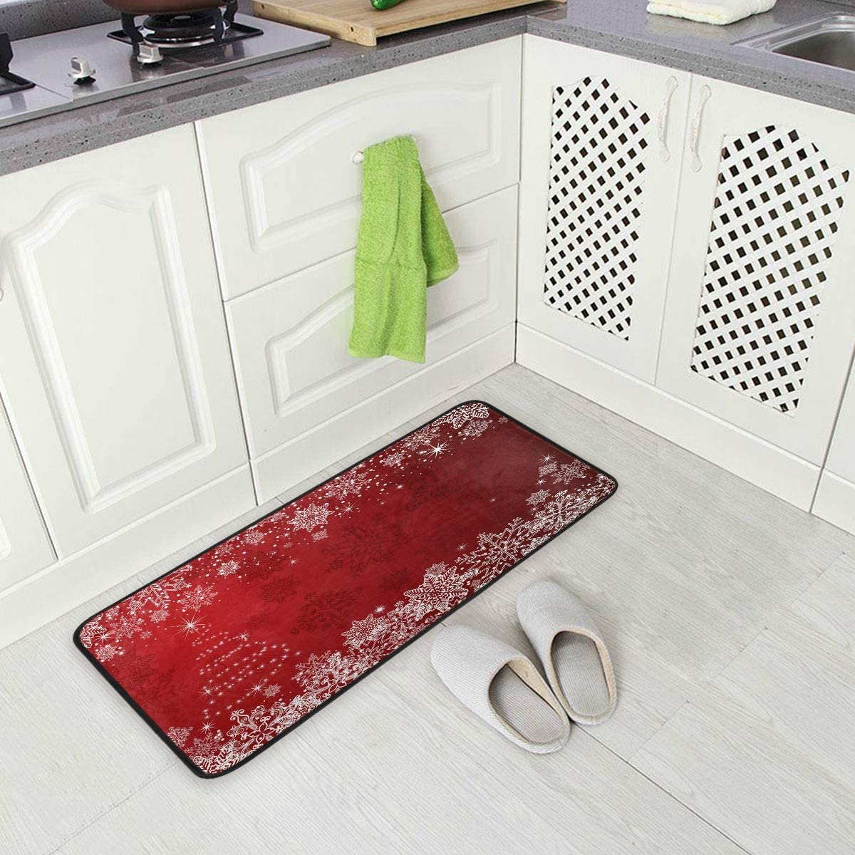 Kitchen Rugs Agona Anti Fatigue Kitchen Mat Christmas Tree Winter White Snowflakes Red Kitchen Floor Mat Soft Standing Mats Absorbent Area Rugs Non Slip Kitchen Rugs Bath Rug Runner Carpet For Home