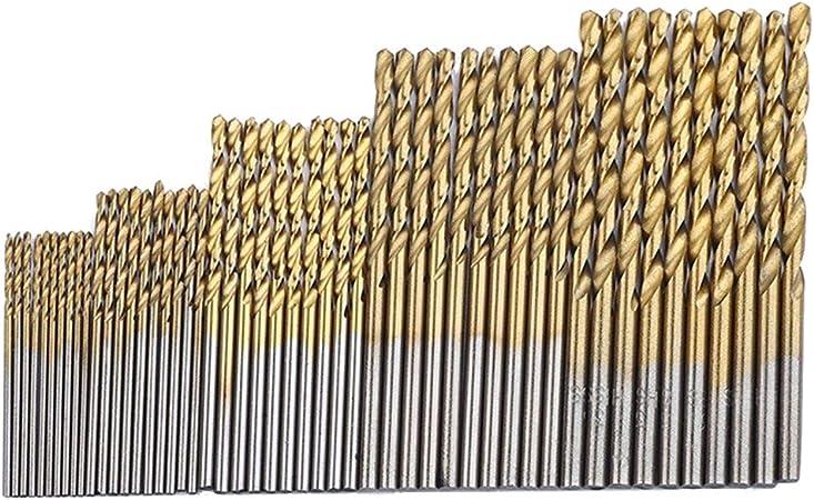 Titanium Coated HSS Drill Bit Set 50 Pc Piece Set Plastic Wood Metal Kit 1-3mm