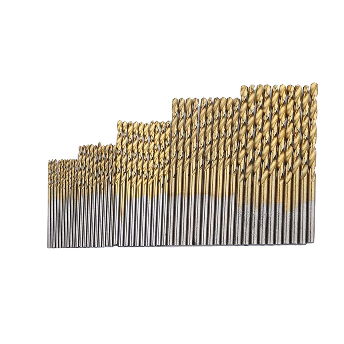 Driak 50PCS Titanium Coated High Speed Steel Twist Drill Bit Set Micro Precision bit 1 1.5 2 2.5 3mm for Wood Plastic Aluminum Copper Steel